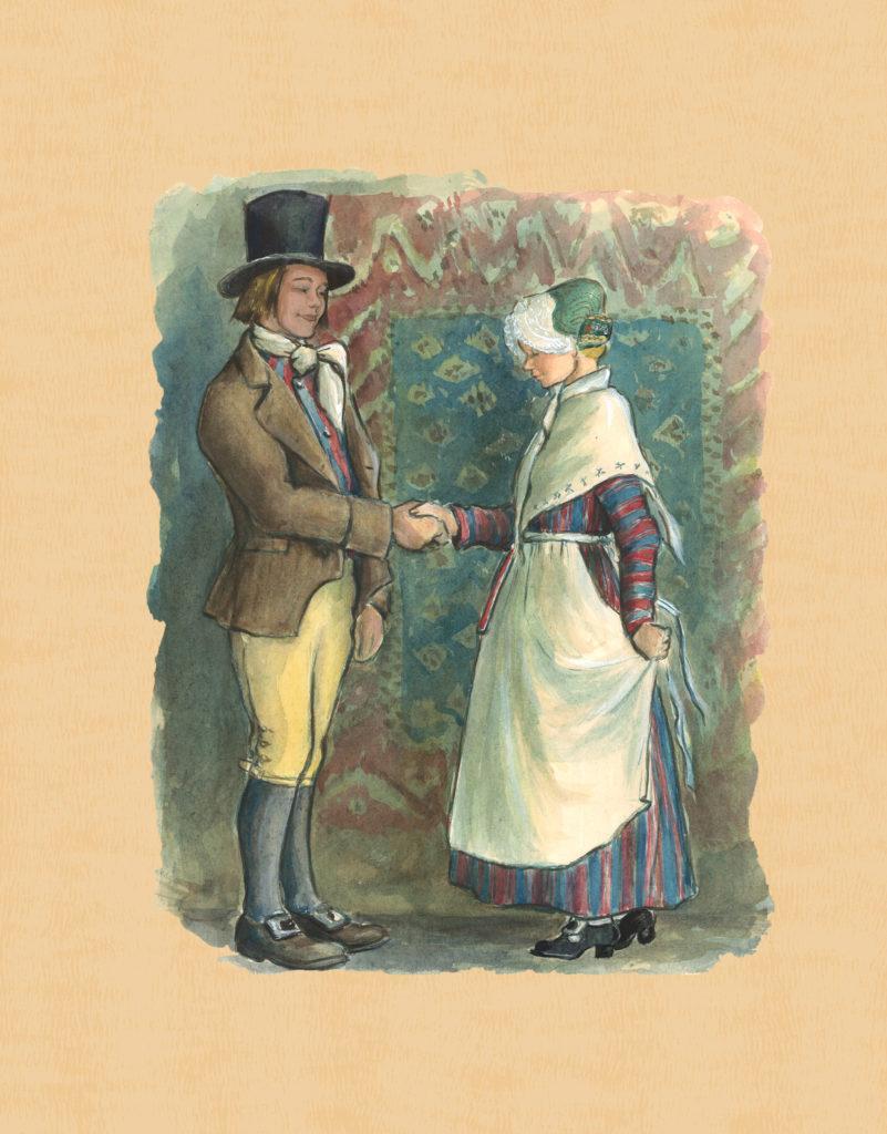 Akvarellimaalaus Tenholan miehen ja naisen puvusta.